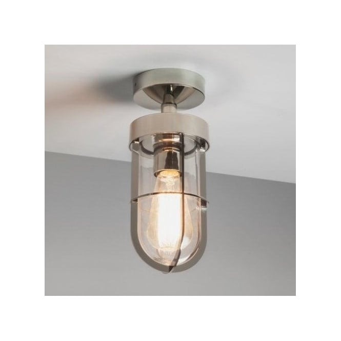 Astro Lighting Cabin Single Light Outdoor Semi Flush Ceiling Fitting In Polished Nickel Finish