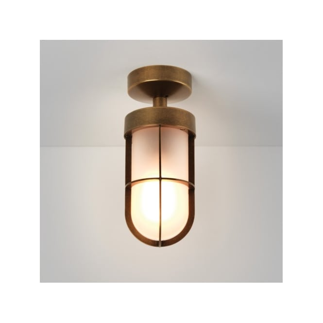 Astro Lighting Cabin Single Light Outdoor Wall Fitting in Antique Brass Finish With Frosted Glass