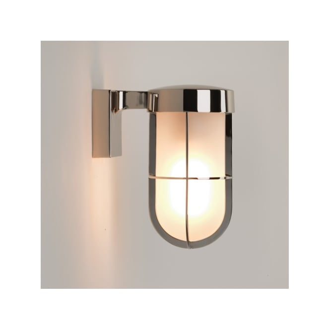 Astro Lighting Cabin Single Light Outdoor Wall Fitting in Polished Nickel Finish With Frosted Glass
