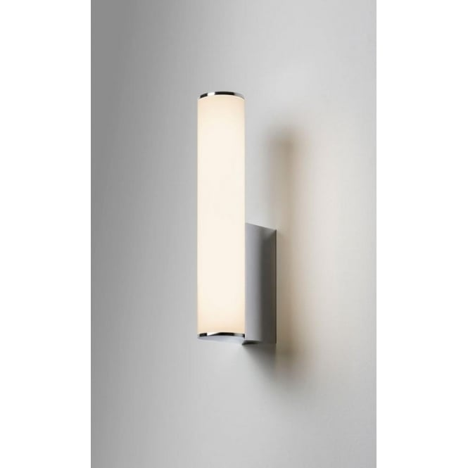 Astro Lighting Domino Single Light LED Bathroom Wall Fitting In Polished Chrome Finish With Opal Glass Diffuser