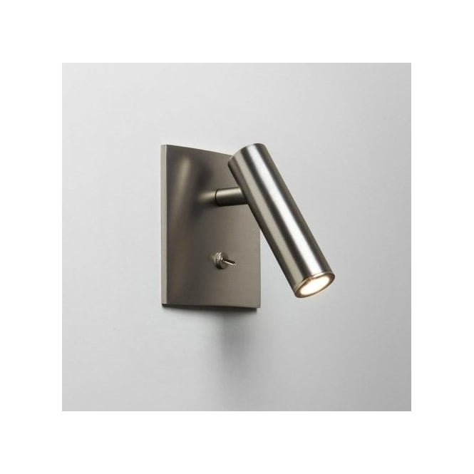 Astro Lighting Enna Single Light LED Square Switched Wall Fitting In Matt Nickel Finish