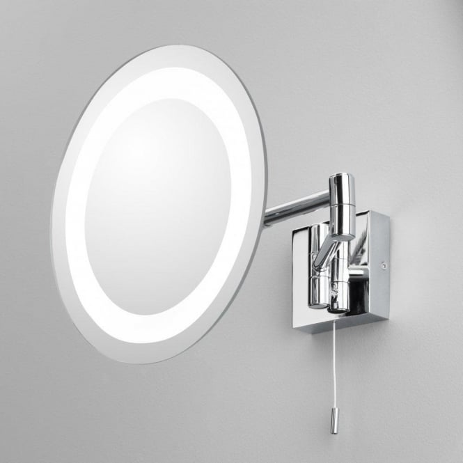 Astro Lighting Genova Single Light Switched Magnifying Bathroom Mirror In Polished Chrome Finish