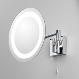 Genova Single Light Switched Magnifying Bathroom Mirror In Polished Chrome Finish