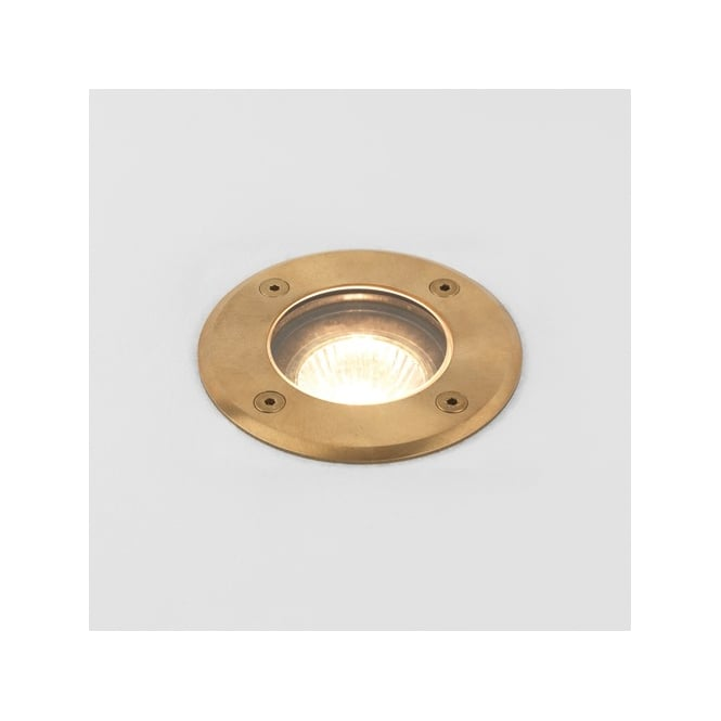 Astro Lighting Gramos Single Halogen Outdoor Natural Brass Finish Round Ground Spot Light