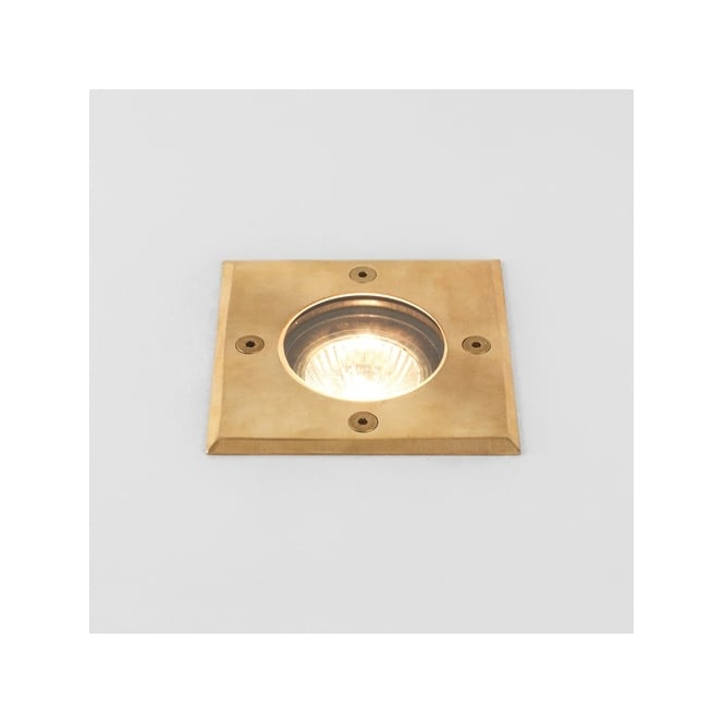Astro Lighting Gramos Single Halogen Square Outdoor Ground Spot Light in Natural Brass Finish