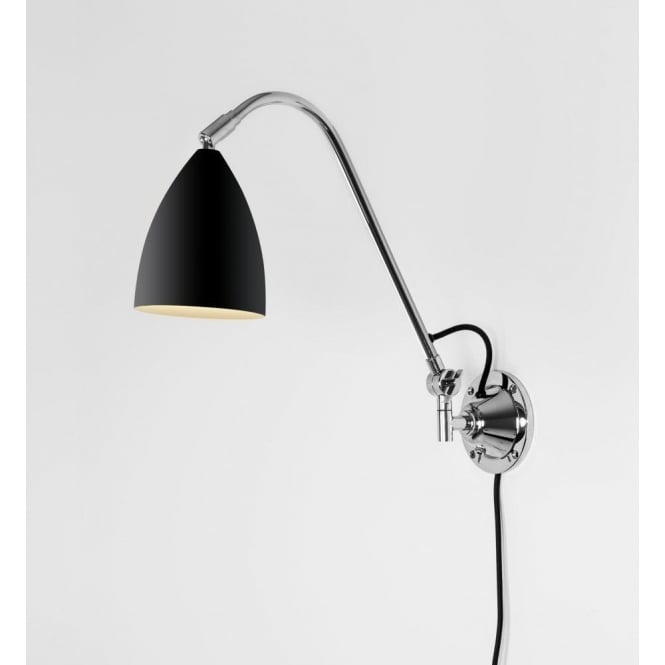 Astro Lighting Joel Grande Single Light Wall Fitting In Black And Polished Chrome Finish
