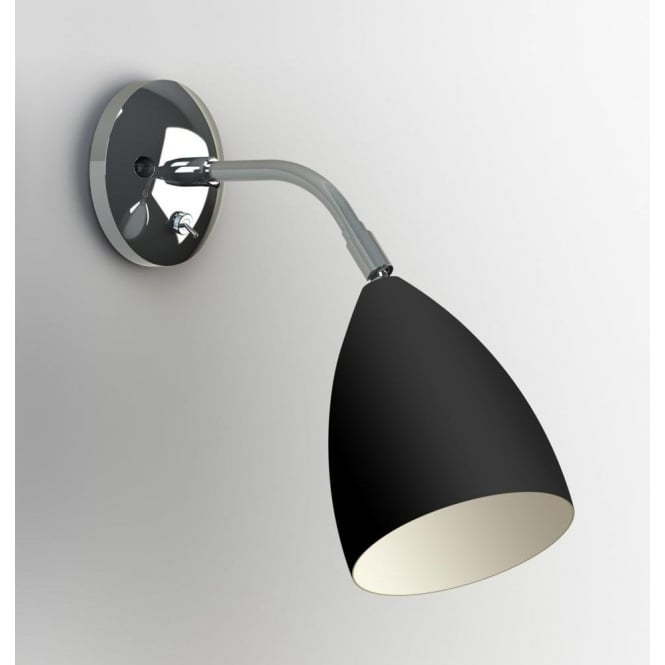 Astro Lighting Joel Single Light Switched Wall Fitting In Black And Polished Chrome Finish
