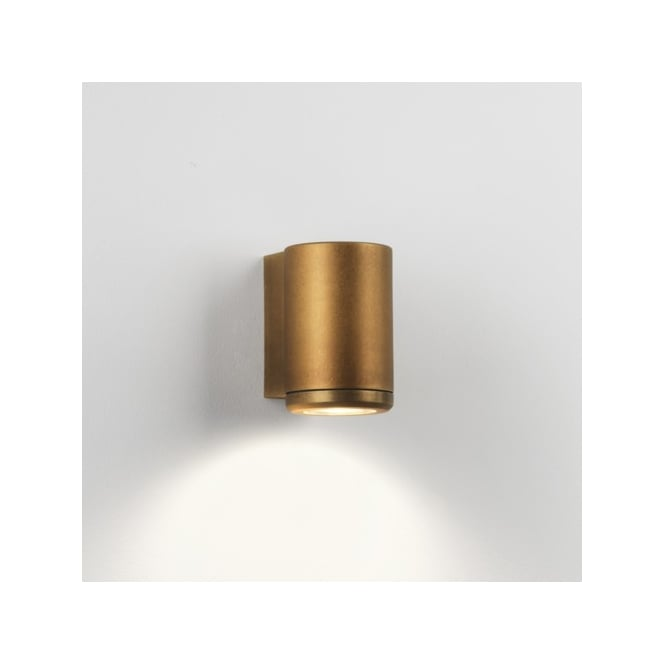 Astro Lighting Jura Single Halogen Light Coastal Exterior Wall Fitting in Antique Brass Finish