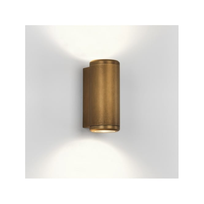 Astro Lighting Jura Twin Halogen Light Coastal Exterior Wall Fitting in Antique Brass Finish