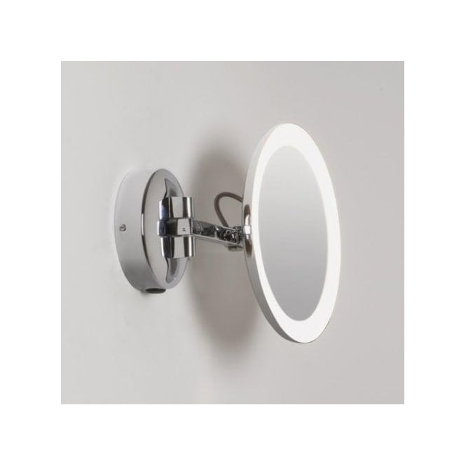 Astro lighting mascali round led illuminated magnifying Polished chrome bathroom mirrors