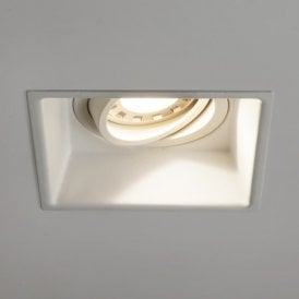 Minima Single Light Adjustable Fire Rated Square Recessed Ceiling Fitting In White Finish