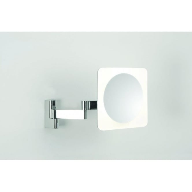 Astro Lighting Niimi Square LED Illuminated Magnifying Bathroom Mirror In Polished Chrome Finish