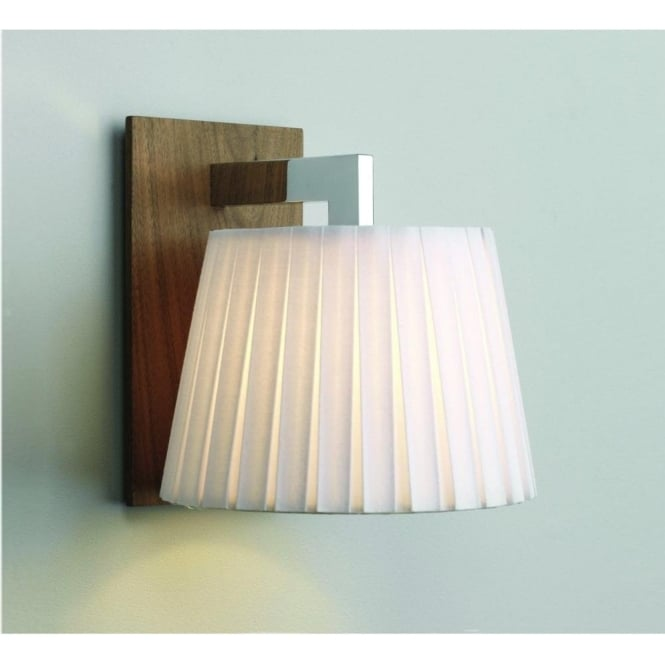 Astro Lighting Nola Single Light Wall Fitting With a Walnut Finish and White Shade