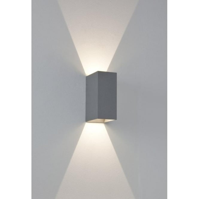 Astro Lighting Oslo 160 LED 2 Light Outdoor Wall Fitting In Painted Silver Finish