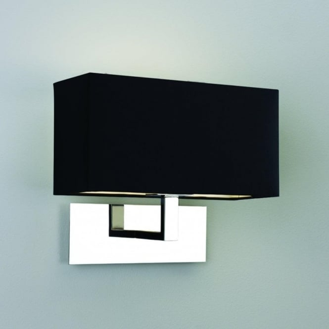 Astro Lighting Park Lane Single Light Wall Fitting in Polished Chrome Finish with Black Shade