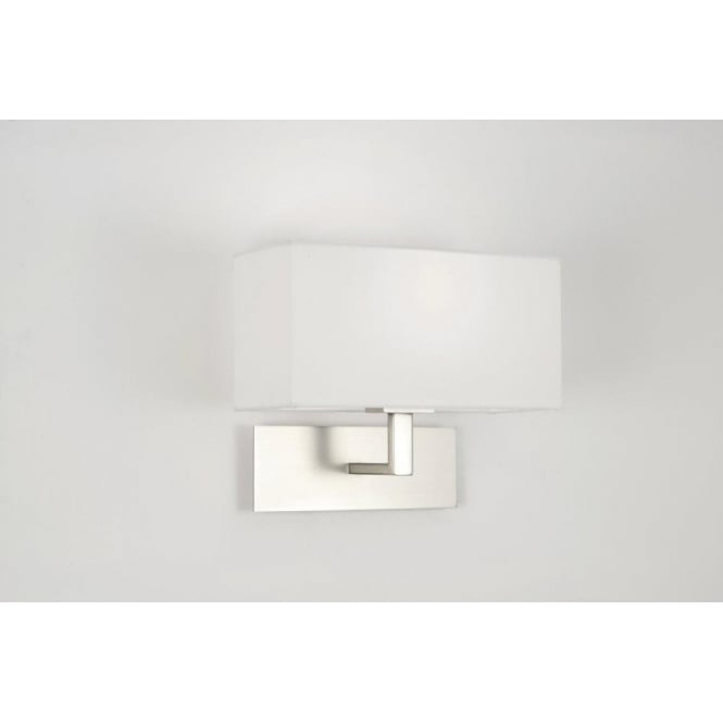 Astro Lighting Park Lane Single Light Wall Fixture in Matt Nickel with a White Fabric Shade