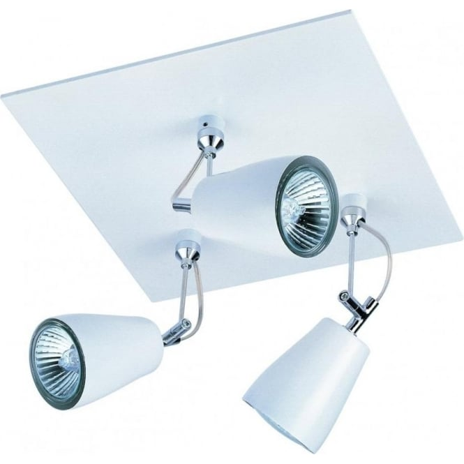 Astro Lighting Polar Triple Square Spotlight in White Finish With Polished Chrome Detail