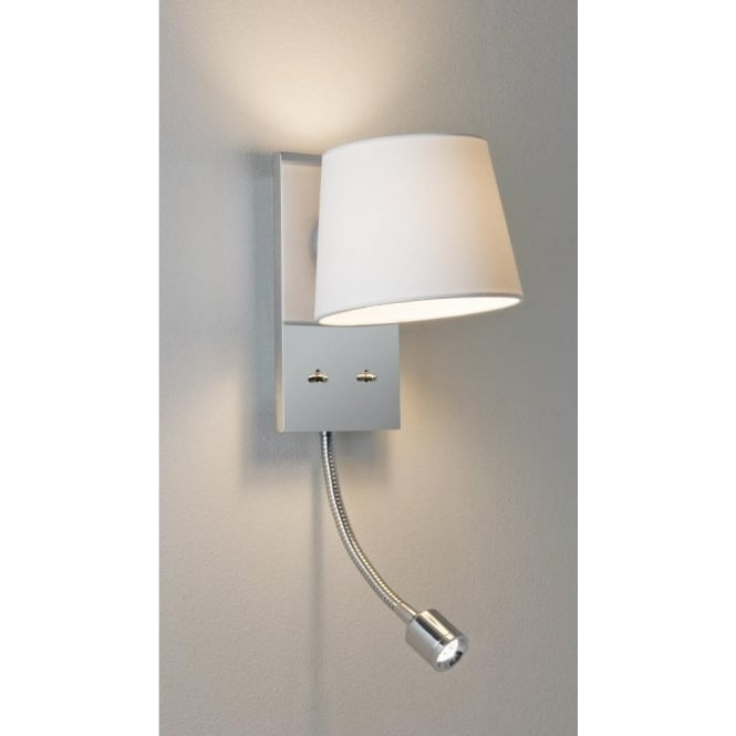 Astro Lighting Sala LED 2 Light Switched Wall Fitting In Polished Chrome Finish With White Fabric Shade