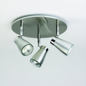 Scala Triple Round Spotlight in Brushed Aluminium