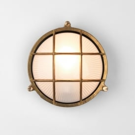 Thurso Single Light Round Outdoor Wall Fitting in Antique Brass Finish