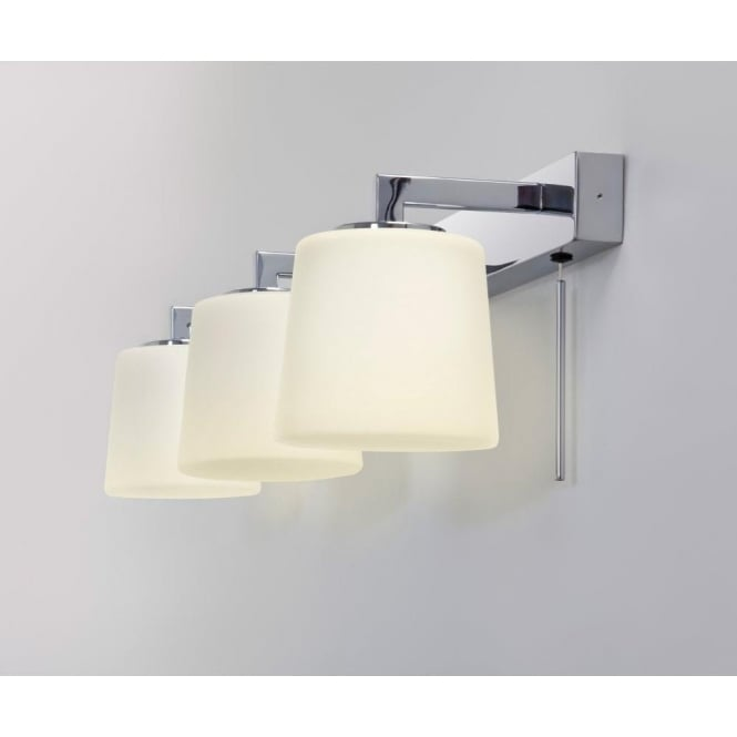Astro Lighting Triplex 3 Light Halogen Switched Bathroom Wall Fitting In Polished Chrome