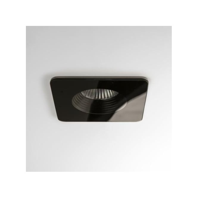 Astro Lighting Vetro Single Light LED Square Fire Rated Recessed Bathroom Downlight In Black Finish(Dimmable)