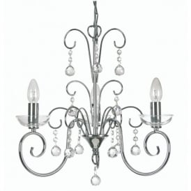 Atanea 3 Light Ceiling Multi Arm Chandelier with Crystal in Polished Chrome Finish