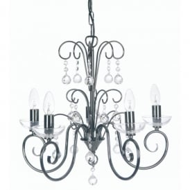 Atanea 5 Light Ceiling Multi Arm Chandelier with Crystal in Mirror Black Finish