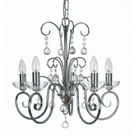Atanea 5 Light Ceiling Multi Arm Chandelier with Crystal in Polished Chrome Finish