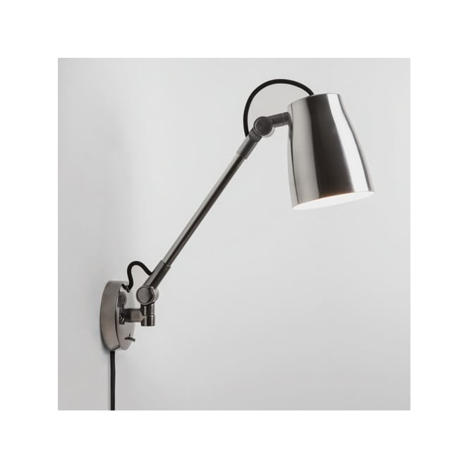 Astro Lighting Atelier Grande Single Light Switched Wall Fitting In Polished Aluminium Finish