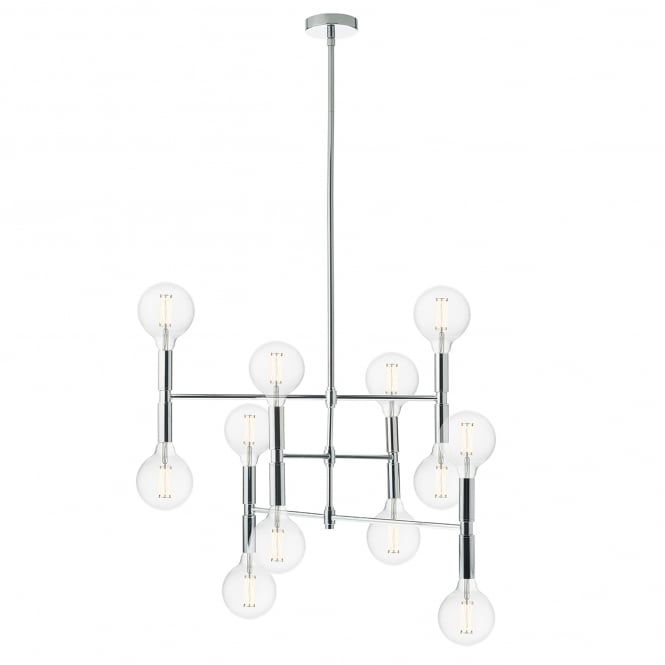 Dar Lighting Athena 12 Light Ceiling Pendant in Polished Chrome Finish