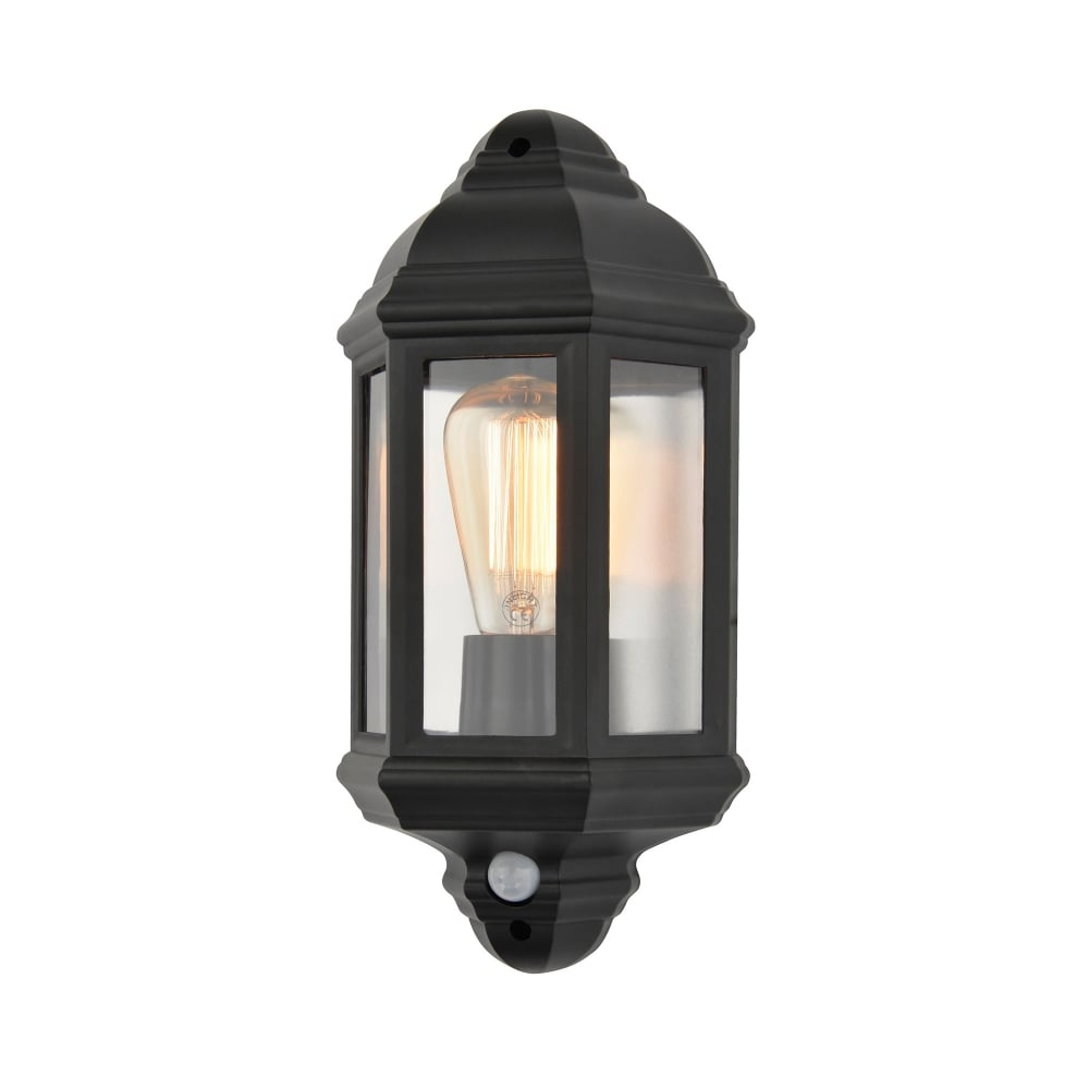 Forum Lighting Athena Single Light Outdoor Flush Wall Lantern In Black Finish With PIR Sensor ...