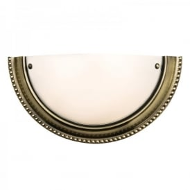 Atlas Single Light Wall Fitting in Antique Brass Finish With Frosted Glass Shade