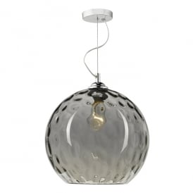 Aulax Single Light Ceiling Fitting in Smoked Glass Finish