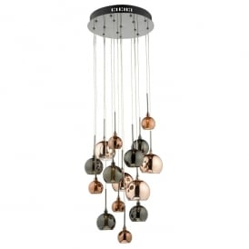 Aurelia 15 Light Low Voltage Halogen Ceiling Pendant in Black Chrome Finish