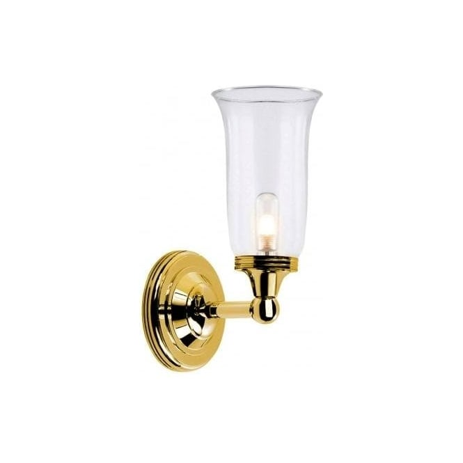 Elstead Lighting Austen Single Light Bathroom Fixture In Polished Brass With Flared Shade