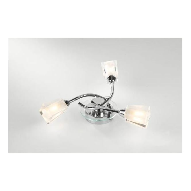 Dar Lighting Austin Chrome 3 Light Semi-Flush Fitting in Polished Chrome Finish with Frosted Glass Shades