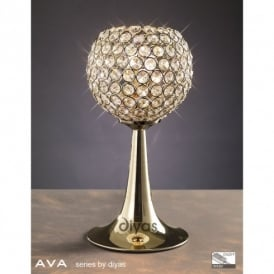 Ava 2 Light Crystal Table Lamp in French Gold Finish