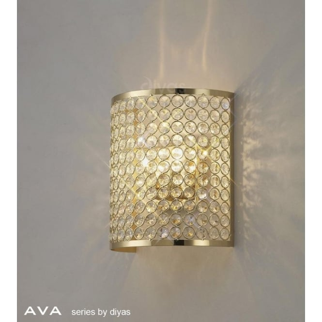 Lighting Il30271bl Nerissa Wall Diyas Ava 2 Light Crystal Fitting In French Gold Finish