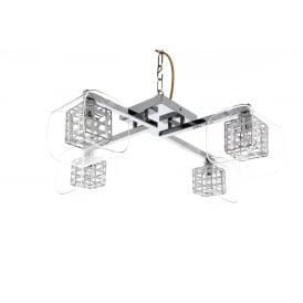 Avignon 4 Light Flush Ceiling Fitting In Polished Chrome And Crystal Glass Finish