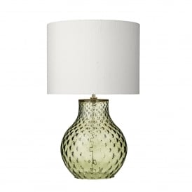 Azores Single Light Small Table Lamp Base Only in Green Glass