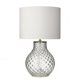Azores Single Light Table Lamp Base Only in Clear Glass