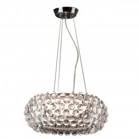 'Acrylio 50' Single Light Ceiling Pendant with White Glass Shade and Acrylic Ball Detail
