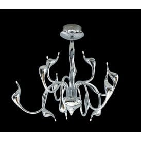 AZ0044 Snake 12 Light Multi Arm Ceiling Pendant in Polished Chrome Finish
