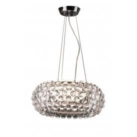 AZ0059 'Acrylio 70' Single Light Ceiling Pendant with White Glass Shade and Acrylic Ball Detail