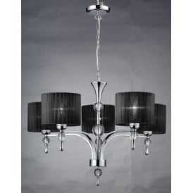 AZ0499 'Impress 5' 5 Light Ceiling Pendant in Polished Chrome Finish with Black Fabric Shades
