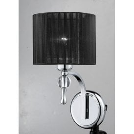 AZ0501 'Impress Wall' Single Light Wall Fitting in Polished Chrome Finish with Black Fabric Shade