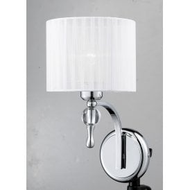 AZ0503 'Impress Wall' Single Light Wall Fitting in Polished Chrome Finish with White Fabric Shade