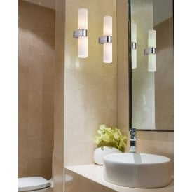 AZ1603 'Gaia 2' IP44 2 Light Wall Fitting in Polished Chrome Finish with Opal Glass Shades