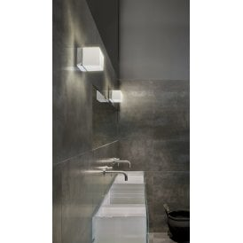AZ2067 Mil LED Bathroom Wall Light in Polished Chrome Finish with White Glass Shade